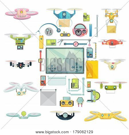 Flat group set of using various flying radio controlled drones for different purposes isolated on white background vector illustration