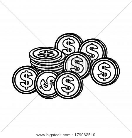 contour coins dolar currency, vector illustration design