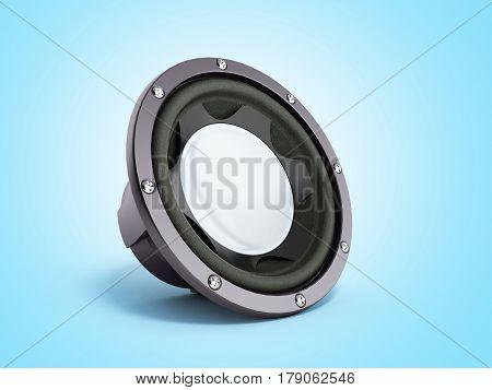 Black Loudspeaker 3D Render On Blue Bacground