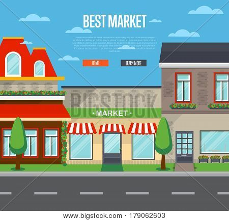 Best market in cityscape vector illustration. Supermarket, mall, shopping center, food store, retail concept. Commercial public building in front with signboard and showcase on street in flat design