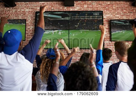 Rear View Of Friends Watching Game In Sports Bar Celebrating
