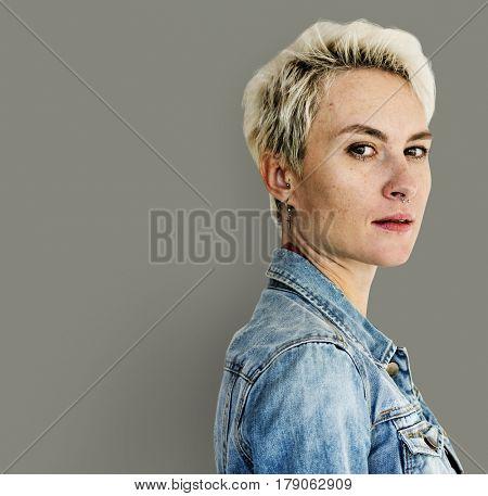Blonde Caucasian Women with Jeans Jacket