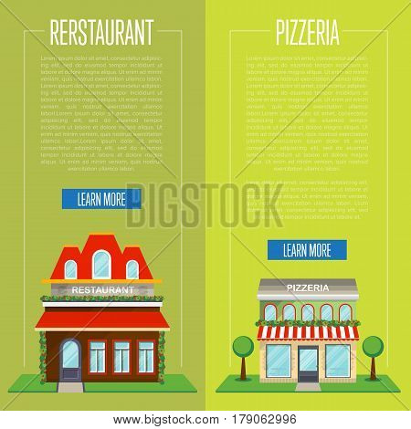 Facade of pizzeria and restaurant flyer set vector illustration. Street cafe, bistro, fast food retail concept. Commercial public building in front with signboard and awning on street in flat design