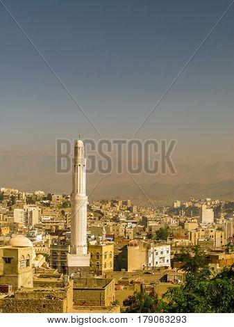 View to Taiz old city and Muzaffariyya aka Modhafer Mosque in Yemen