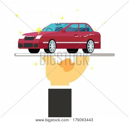 Express rent car service conceptual icon isolated on white background vector illustration. Rental business symbol, renting car dealer in flat design.