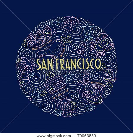 Symbols of San Fransisco presented in circle.