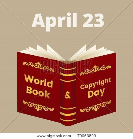 Illustration for World Book and Copyright Day with open book and text on cover