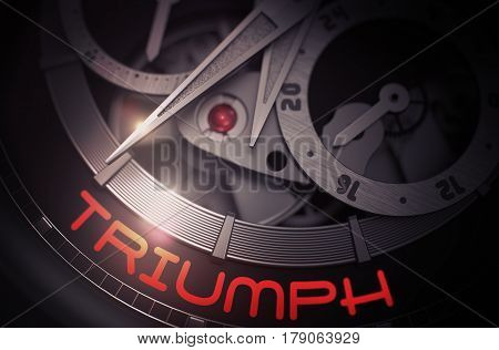 Triumph on the Old Pocket Watch, Chronograph Up Close. Time and Work Concept with Lens Flare. 3D Rendering.