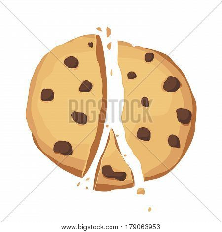 Broken cookie with chocolate on a white background. The application icon. Cookie crumbs