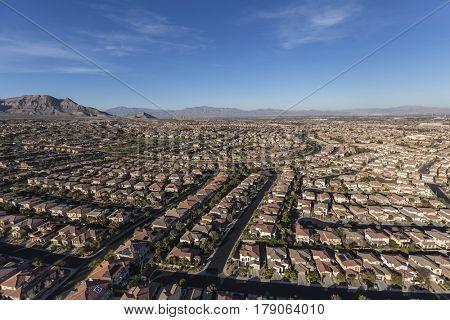 Aerial view of the suburban Summerlin neighborhood in Las Vegas, Nevada.