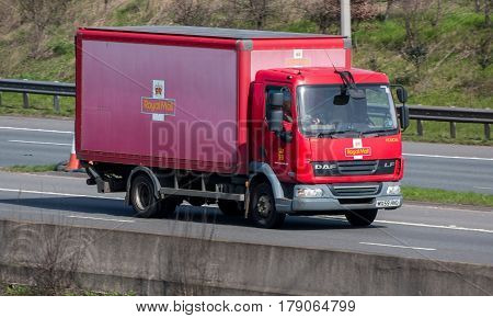 Watford UK - March 13 2017: Small Royal Mail lorry in motion on the British motorway M1