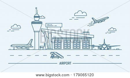 Airport, aircraft, Lineart black and white vector illustration with air terminal and airplanes.