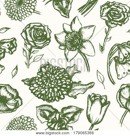 Beautiful Flowers - monochromatic vector hand drawn seamless pattern. Realistic rose, lily of the valley, tulip, daisy, iris, lily, chrysanthemum, carnation, poppy, narcissus.