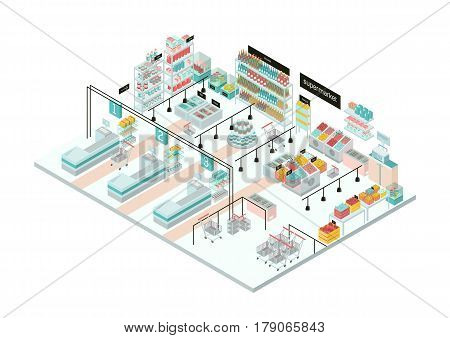 Supermarket interior, Grocery store. Colorful isometric illustration