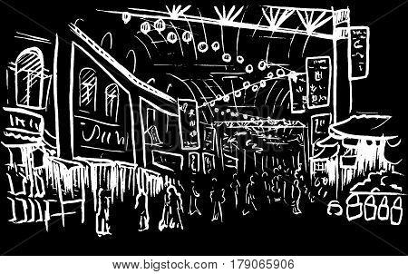 Hand-drawn sketch of Chinatown in Kuala Lumpur, Malaysia