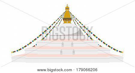 Boudhanath Stupa Kathmandu Nepal. Isolated on white background vector illustration.