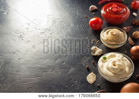 tomato sauce, mayonnaise and mustard in bowl on table