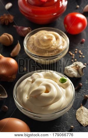 tomato sauce, mayonnaise and mustard in bowl on wooden background