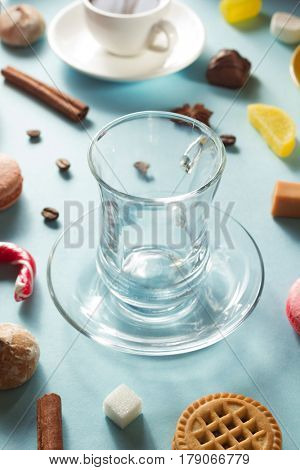 empty cup of coffee at blue background