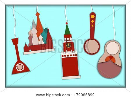 Paper applique style illustration. Card with application of St. Basils Cathedral, Kremlin, Nesting Doll, Wooden National Spoon and Balalaika