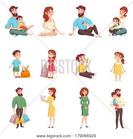 Set of happy family members with mom dad daughter son with bag cartoon style isolated vector illustration