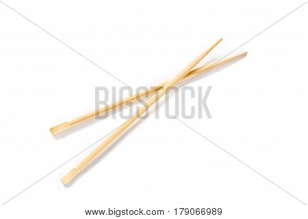 A pair of chopsticks on white background