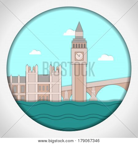 Paper applique style Card with application of Big Ben Tower and Westminster Palace. London. Postcard.Vector illustration.