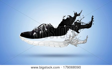 Image Compositing - Product photography of a shoe on blue background