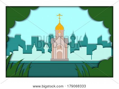 Paper applique style illustration. Card with application Moscow ponorama with Chapel in the name of St. Nicholas the Wonderworker, Novosibirsk, Siberia. Postcard