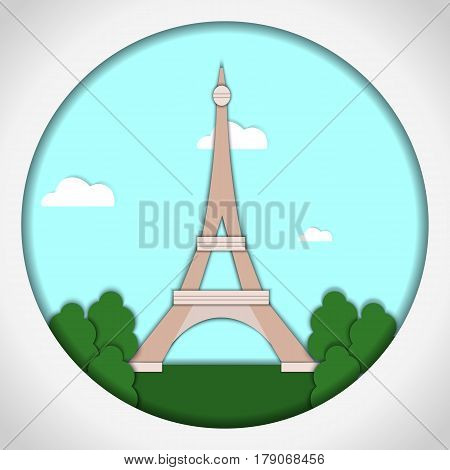 Paper applique style Card with application of Eiffel Tower, Paris, France. Postcard.Vector illustration.