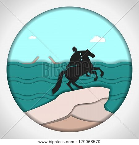 Paper applique style Card with application of monument to Peter the Great The copper rider, St. Petersburg. Postcard.Vector illustration.