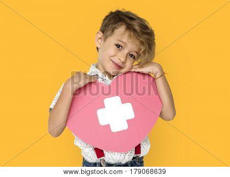 Little Boy Holding Papercraft Heart