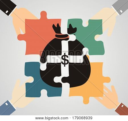the concept of investment and joint business. Businessmen folded bag of money consists of puzzles.