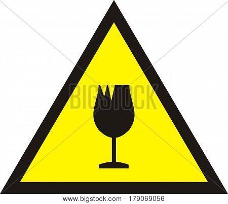 broken glass warning yellow flat sign. w