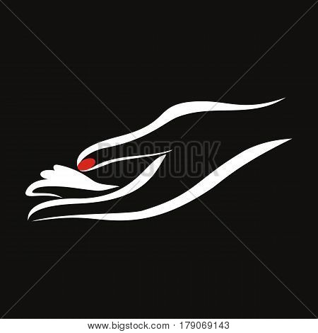 Vector woman hand with red fingernails. Black background. logo design.