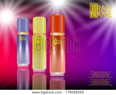 Glamorous face Beauty Care Products Packages on the sparkling effects background. Mock-up 3D Realistic Vector illustration for design template