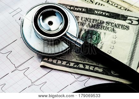 Stethoscope And Money On Electrocardiogram.