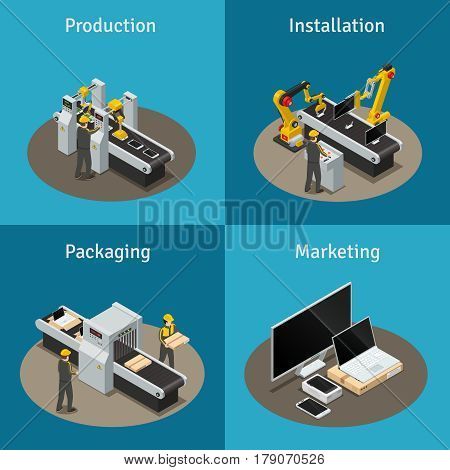 Four square colored electronics factory isometric composition with production installation packaging and marketing descriptions vector illustration