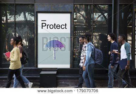 Protect Guard Security Umbrella Graphics Icons Symbols