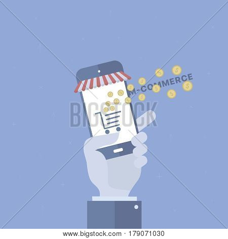 M-commerce background with device. Concept business vector for investing into ideas, creative innovative work, growing business. Flat illustration with thin broken line.