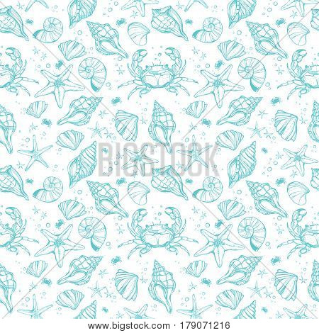 Sea shell beautiful linear marine life seamless pattern. Shells, seaweed, crab, starfish. Nautical summer art isolated repetition background. Beach, decorations. Sea for menu, textiles.