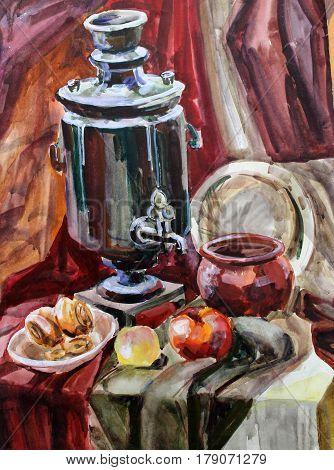 still life gouache color painting the samovar dinnerware blue, bottle, glass