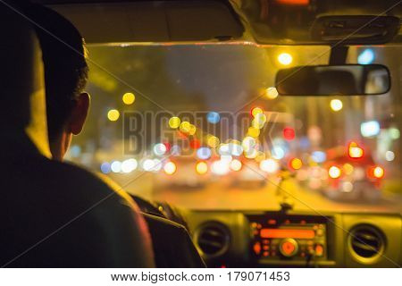 Hand driving left transport fast at night