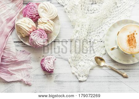 Zephyr (russian Marshmallow) On Light Wooden Table