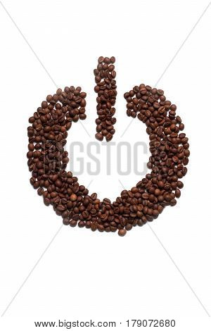 power button of brown fried or raw coffee beans for energy morning drink isolated on white background copy space