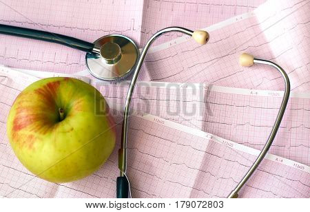 Sthetoscope And Drugs, Pills On The Background Of Red Paper With Diagnosis Of Heart Pulse Cardiogram
