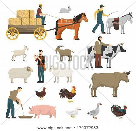 Farm animals set with cow horse and hen flat isolated vector illustration