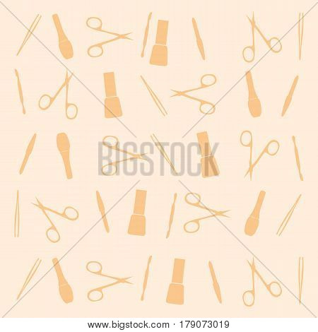 pattern manicure tools on a yellow background. Vector illustration. Manicure tools card.