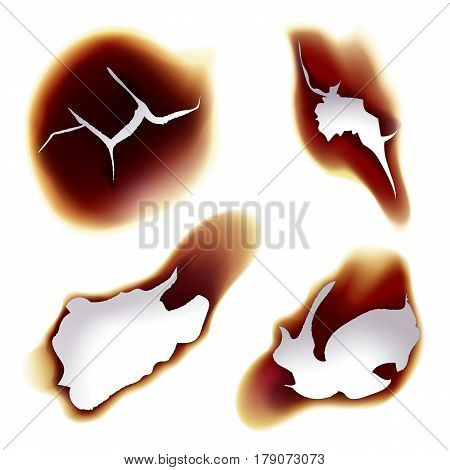 Holes on sheet of paper caused by fire, set of isolated flame on burnt or scorched piece of paper, Bright glowing page with ash, damaged or destroyed parchment. Burning and fire, flaming theme