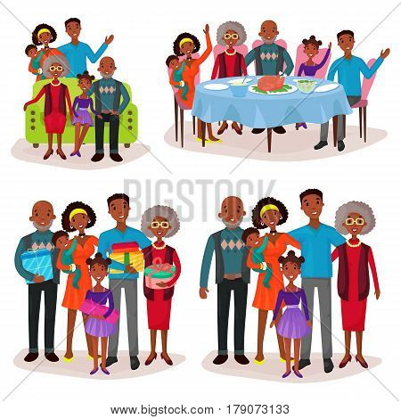 Afro-american or aframerican family portraits, set of isolated relatives at holiday or celebration with gifts or presents, sitting on sofa and having dinner at table with turkey. Childhood and people theme